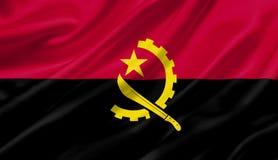 Angola fahnenschwenkend mit dem Wind, Illustration 3D Stockfotos