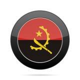 angola flagę Błyszczący czarny round guzik Zdjęcia Stock