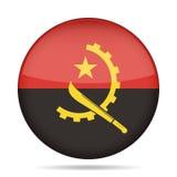 angola flagę Błyszczący round guzik Obrazy Royalty Free