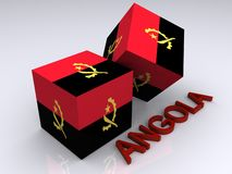Angola flag. Rendering of the flag of Angola in cubes with Angola spelled in three-dimensional letters Stock Photo