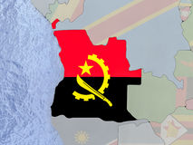Angola with flag on globe Stock Images