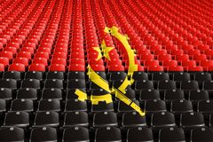 Angola flag stadium seats. Sports competition concept. Angola flag stadium seats. Sports competition concept royalty free stock image