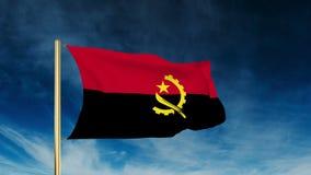 Angola-Flaggenschieberart Wellenartig bewegen in den Wind mit lizenzfreie abbildung