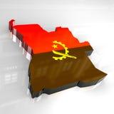 Angola flagi mapy 3 d Zdjęcie Royalty Free