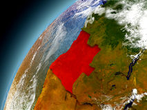 Angola från omlopp av modellen Earth Arkivbilder
