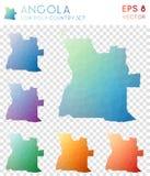 Angola geometriska polygonal översikter, mosaikstil Arkivbilder