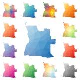 Angola geometryczny poligonalny, mozaika stylu mapy Obrazy Royalty Free