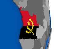 Angola on globe with flag Stock Image