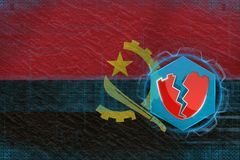 Angola hacked, attacked by hackers. Net defense concept. Stock Photography