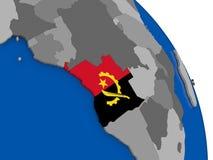 Angola i swój flaga na kuli ziemskiej Zdjęcia Stock