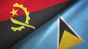 Angola Lucia i święty dwa flagi tekstylny płótno, tkaniny tekstura royalty ilustracja