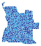 Angola Map Composition of Squares. Angola map composition of random square elements in various sizes and blue color tinges. Vector square dots are arranged into Stock Photography