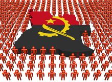 Angola map flag with people Stock Photo