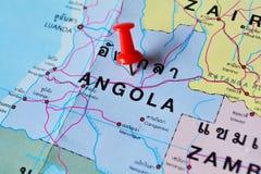 Angola map. Macro shot of angola map with push pin royalty free stock images