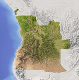 Angola, mapa de relevo protegido Fotos de Stock