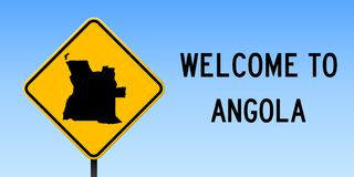 Angola mapa na drogowym znaku Zdjęcie Stock