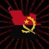 Angola mapy flaga na czerwonej hex kodu wybuchu ilustraci Fotografia Stock