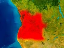 Angola na fizycznej mapie Fotografia Royalty Free