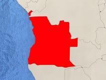 Angola na mapie Obrazy Stock