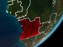 Angola na nocy ziemi Zdjęcie Royalty Free