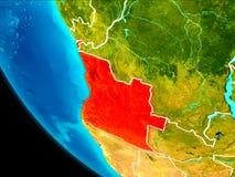 Angola na ziemi od przestrzeni Zdjęcie Royalty Free