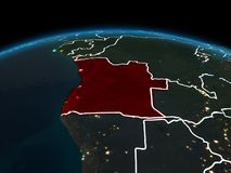 Angola na ziemi przy nocą Obraz Royalty Free
