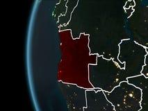 Angola od przestrzeni przy nocą Obraz Royalty Free