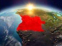 Angola od przestrzeni w wschodzie słońca Zdjęcie Stock
