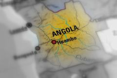 Republic of Angola. Angola, officially the Republic of Angola black and white selective focus Royalty Free Stock Photo