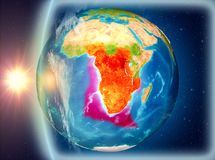 Angola podczas zmierzchu od przestrzeni Obraz Royalty Free
