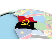 Flag of Angola on bright globe. Angola on political globe with embedded flags. 3D illustration Stock Images