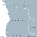 Angola political map. With capital Luanda and exclave Cabinda. Republic and country in Southern Africa on the Atlantic Ocean. Gray illustration isolated on Stock Image