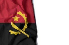 Angola rynkade flaggan, utrymme för text Royaltyfri Fotografi