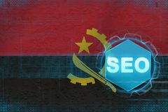 Angola seo (sökandemotoroptimization) Begrepp för sökandemotoroptimisation royaltyfri illustrationer