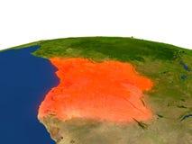 Angola w czerwieni od orbity Obraz Royalty Free