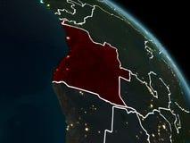 Angola w czerwieni przy nocą Fotografia Stock