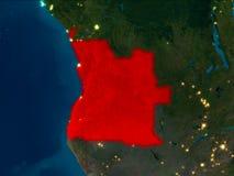 Angola w czerwieni przy nocą Obraz Stock