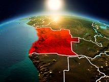 Angola w wschodzie słońca od orbity Zdjęcie Stock