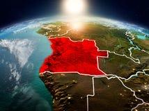 Angola w wschodzie słońca od orbity Obraz Royalty Free