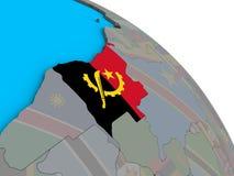 Angola z flagą na 3D kuli ziemskiej ilustracji