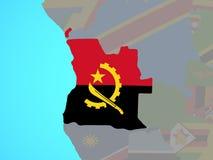 Angola z flagą na mapie royalty ilustracja