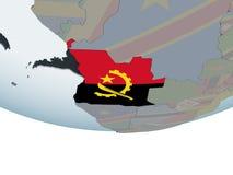 Angola z flaga na kuli ziemskiej Obrazy Stock