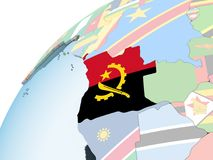 Angola z flaga na kuli ziemskiej ilustracji