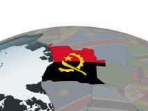 Angola z flaga na kuli ziemskiej royalty ilustracja