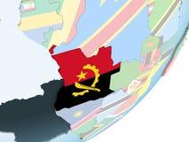 Angola z flaga na kuli ziemskiej Ilustracja Wektor