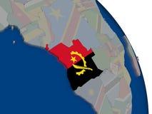 Angola z flaga na kuli ziemskiej Obraz Stock