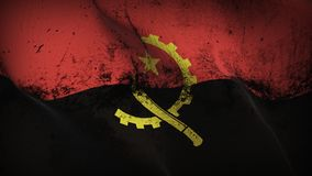 Angola grunge dirty flag waving on wind. Angolan background fullscreen grease flag blowing on wind. Realistic filth fabric texture on windy day Royalty Free Stock Photos