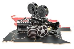 Angolan cinematography, film industry concept. 3D rendering. Isolated on white background Royalty Free Stock Photo