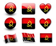 The Angolan flag. Set of icons and flags. glossy and matte on a white background Royalty Free Stock Images