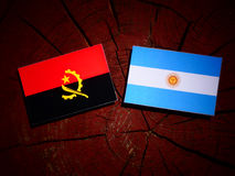 Angolan flag with Argentinian flag on a tree stump isolated. Angolan flag with Argentinian flag on a tree stump Stock Images